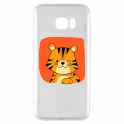 Чехол для Samsung S7 EDGE Striped tiger with smile