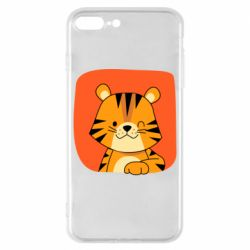 Чехол для iPhone 8 Plus Striped tiger with smile