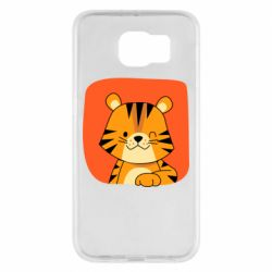 Чехол для Samsung S6 Striped tiger with smile