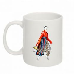 Кружка 320ml Stylish girl in pants with patterns