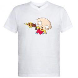 Мужская футболка  с V-образным вырезом Стьюи с бластером - FatLine