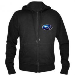 Мужская толстовка на молнии Subaru 3D Logo - FatLine