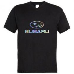 Чоловіча футболка з V-подібним вирізом Subaru  Голограма
