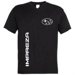 Мужская футболка  с V-образным вырезом Subaru Impreza - FatLine