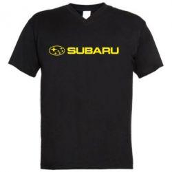 Мужская футболка  с V-образным вырезом Subaru logo - FatLine