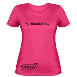 Женская футболка Subaru STI лого - FatLine