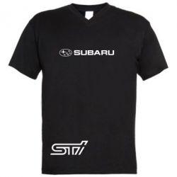 Мужская футболка  с V-образным вырезом Subaru STI лого - FatLine