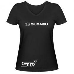 Женская футболка с V-образным вырезом Subaru STI лого - FatLine