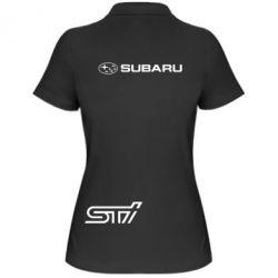 Женская футболка поло Subaru STI лого - FatLine