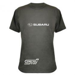 Камуфляжная футболка Subaru STI лого - FatLine