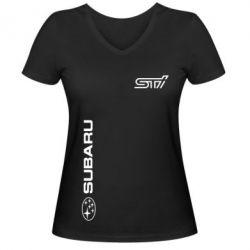 Женская футболка с V-образным вырезом Subaru STI Logo - FatLine