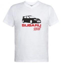 Мужская футболка  с V-образным вырезом Subaru STI - FatLine