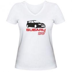 Женская футболка с V-образным вырезом Subaru STI - FatLine
