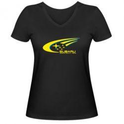 Женская футболка с V-образным вырезом Subaru WRT - FatLine