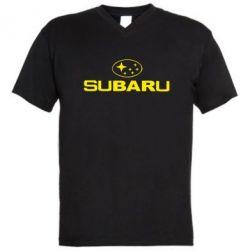 Мужская футболка  с V-образным вырезом Subaru - FatLine