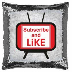 Подушка-хамелеон Subscribe and like youtube