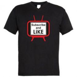 Чоловіча футболка з V-подібним вирізом Subscribe and like youtube