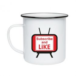 Кружка емальована Subscribe and like youtube