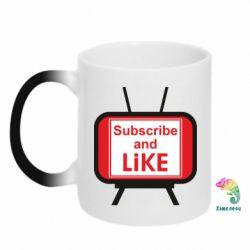 Кружка-хамелеон Subscribe and like youtube
