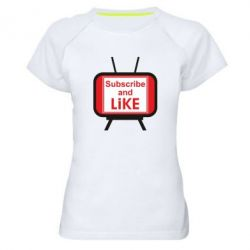 Жіноча спортивна футболка Subscribe and like youtube