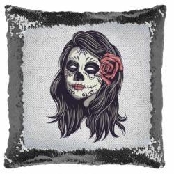 Подушка-хамелеон Sugar girl with a rose