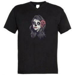 Чоловіча футболка з V-подібним вирізом Sugar girl with a rose