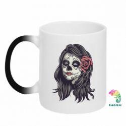 Кружка-хамелеон Sugar girl with a rose