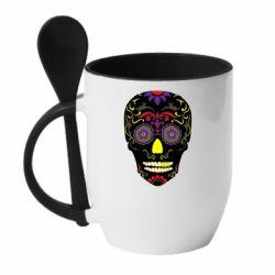 Кружка з керамічною ложкою Sugar Skull Vector