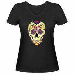 Жіноча футболка з V-подібним вирізом Sugar Skull Vector