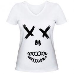 Женская футболка с V-образным вырезом Suicide skull