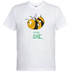 Мужская футболка  с V-образным вырезом Сумасшедшая пчелка - FatLine
