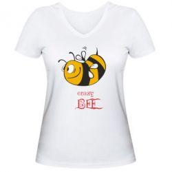 Женская футболка с V-образным вырезом Сумасшедшая пчелка - FatLine