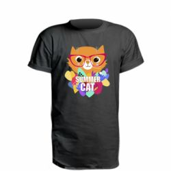 Удлиненная футболка Summer cat