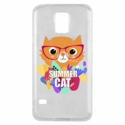 Чехол для Samsung S5 Summer cat
