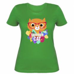Женская футболка Summer cat