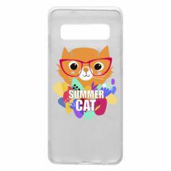 Чехол для Samsung S10 Summer cat