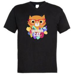 Мужская футболка  с V-образным вырезом Summer cat