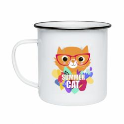 Кружка емальована Summer cat