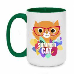 Кружка двухцветная 420ml Summer cat