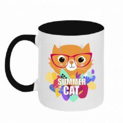 Кружка двухцветная 320ml Summer cat