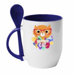Кружка с керамической ложкой Summer cat