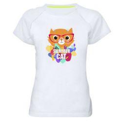Женская спортивная футболка Summer cat