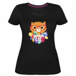 Женская стрейчевая футболка Summer cat