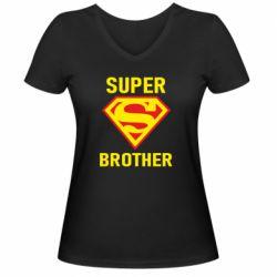 Женская футболка с V-образным вырезом Super Brother