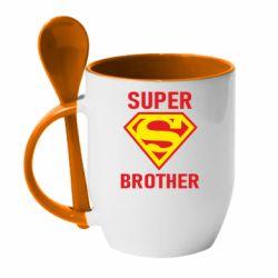 Кружка с керамической ложкой Super Brother