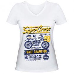 Жіноча футболка з V-подібним вирізом Super Cross 1989