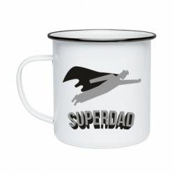 Кружка емальована Super dad flies