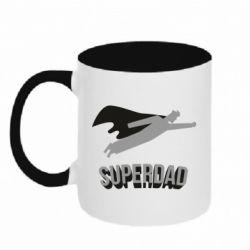 Кружка двоколірна 320ml Super dad flies