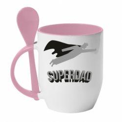 Кружка з керамічною ложкою Super dad flies