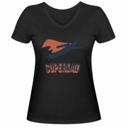 Жіноча футболка з V-подібним вирізом Super dad flies